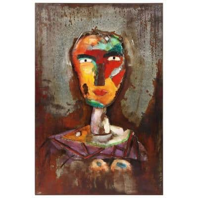 """48 in. x 32 in. """"Homme 2"""" Mixed Media Iron Hand Painted Dimensional Wall Art"""