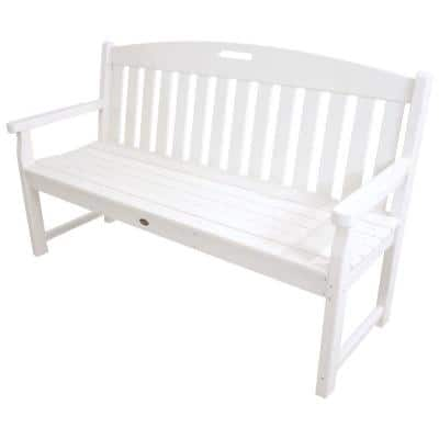 Yacht Club 60 in. Classic White Plastic Patio Bench