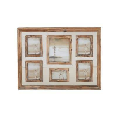 Natural Brown 6-Opening Wall Photo Frame