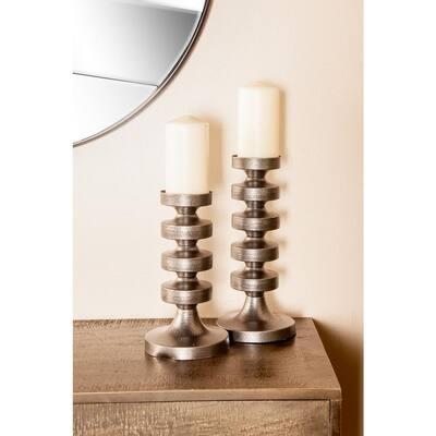 Gray Segmented Column Iron Candle Holders (Set of 3)
