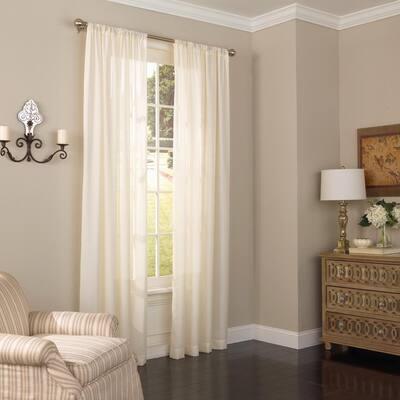 Ivory Solid Rod Pocket Room Darkening Curtain - 52 in. W x 95 in. L