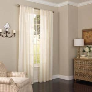 ivory Solid Rod Pocket Sheer Curtain - 52 in. W x 63 in. L