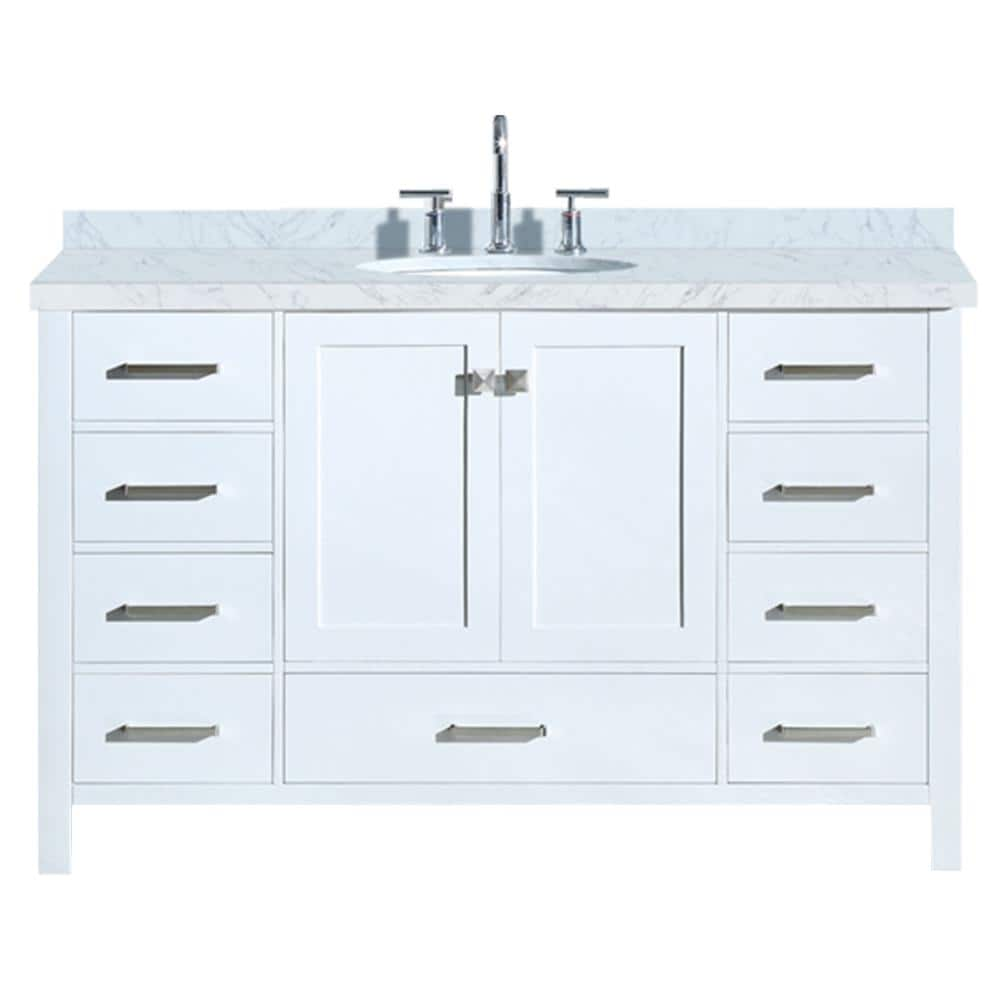 Ariel Cambridge 55 In Bath Vanity In White With Marble Vanity Top In Carrara White With White Basin A055s Vo Wht The Home Depot
