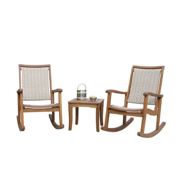 Eucalyptus Outdoor Rocking Chair Set, Outdoor Rocking Chairs Set Of 2