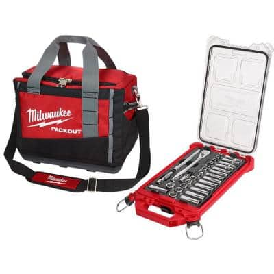 3/8 in. Drive Metric Ratchet and Socket Mechanics Tool Set with PACKOUT Case and Bag (32-Piece)