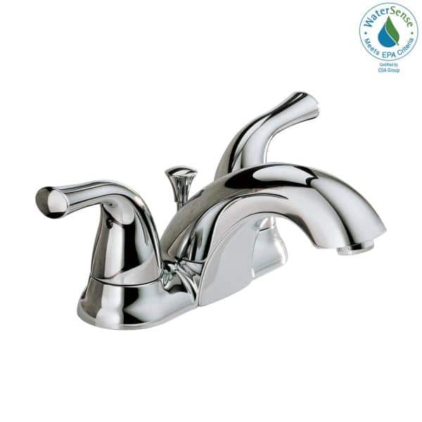 Delta Classic 4 In Centerset 2 Handle Bathroom Faucet In Chrome 2520lf A Eco The Home Depot