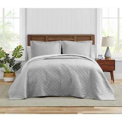 Tommy Bahama Solid 3-Piece Gray Cotton King Quilt Set