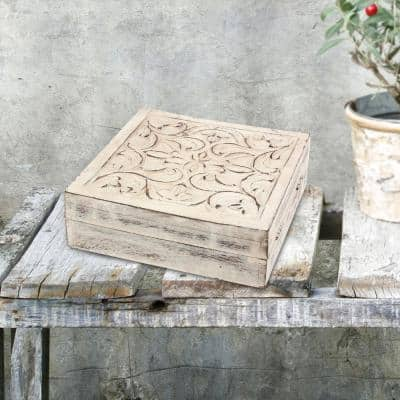 7 in. x 2 in. Worn White Wooden Box with Hinged Lid and Carved Fillegry Details