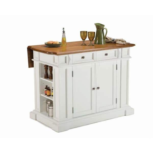 Homestyles Americana White Kitchen Island With Drop Leaf 5002 94 The Home Depot