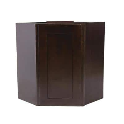 Brookings Plywood Ready to Assemble Shaker 24x30x12 in. 1-Door Wall Corner Kitchen Cabinet in Espresso