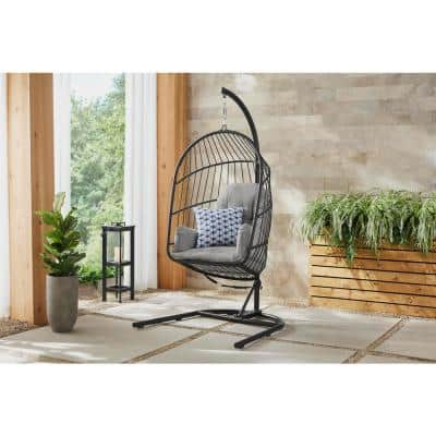 Collapsible Steel Rope Folding Patio Egg Chair Swing with Black Base and Gray Cushions