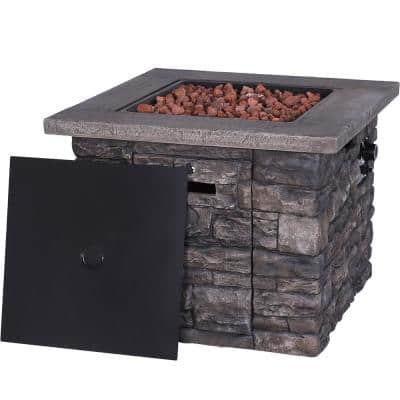 31 in. x 24 in. Square Outdoor Propane Fire Pit with Lid, Free Lava Rocks