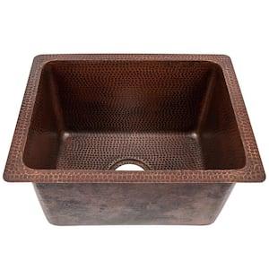 Bronze 14 Gauge Copper 17 in. Dual Mount Rectangle Bar Sink