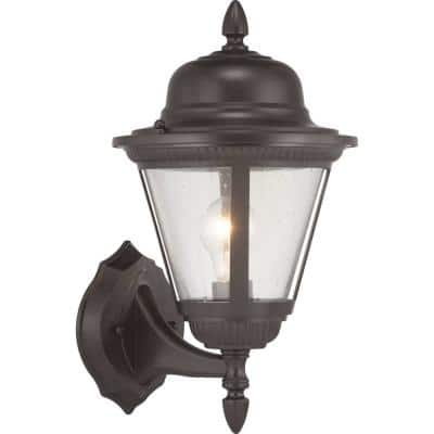 Westport Collection 1-Light Antique Bronze Clear Seeded Glass Traditional Outdoor Small Wall Lantern Light
