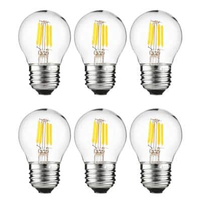 25-Watt Equivalent G16 Clear Filament Dimmable E26 Medium Base LED Light Bulb in Amber 2200K (6-Pack)