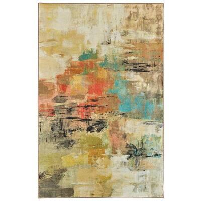 Painted Gaze Metropolitan Tan 8 ft. x 10 ft. Abstract Area Rug