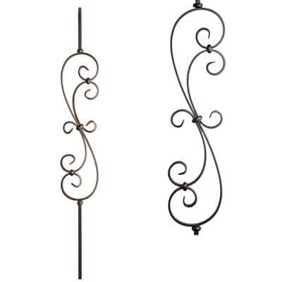 Scrolls 44 in. x 0.5 in. Satin Black Large Spiral Scroll Solid Wrought Iron Baluster