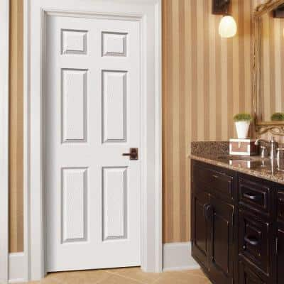 30 in. x 80 in. Colonist White Painted Textured Molded Composite MDF Interior Door Slab