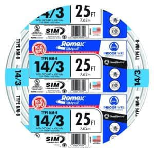 25 ft. 14/3 Solid Romex SIMpull CU NM-B W/G Wire