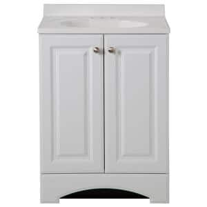 24.50 in. W Bath Vanity in White with Cultured Marble Vanity Top in White with White Basin
