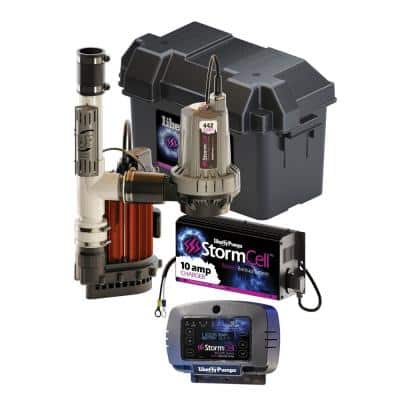 1/3 HP Submersible Sump Pump and Storm Cell Back-Up Pump System with Night Eye Alarm