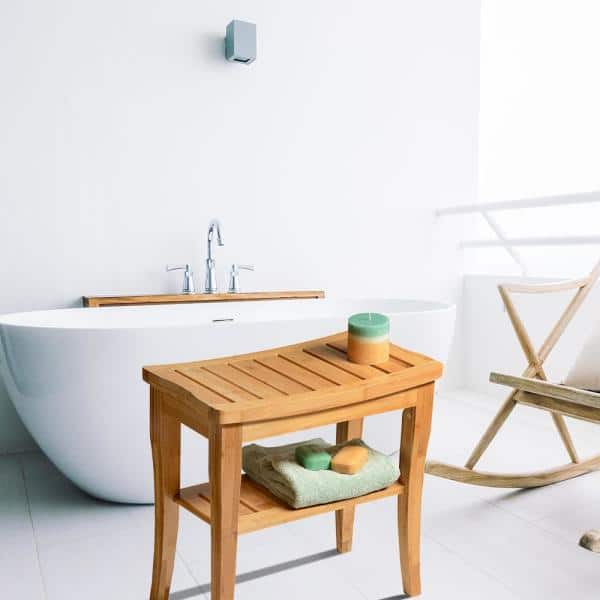 Bambusi Bamboo Shower Seat Bench With Storage Shelf For Seating Support And Relaxation By Bambsi Bel Ssb The Home Depot