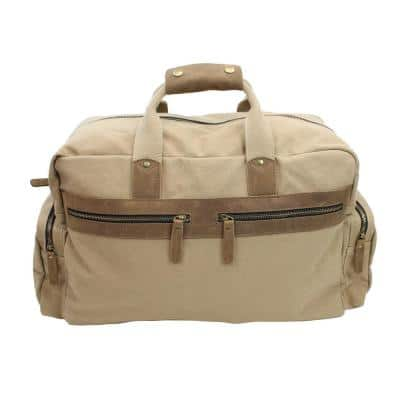 19 in. Khaki Large Classic Canvas with Full Grain Leather Travel Duffel Bag