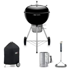 Master Touch 22'' Kettle Grill Combo with Grill Brush, Cover, and Chimney Charcoal Starter