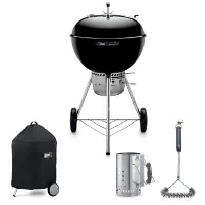 "Master Touch 22"" Kettle Grill Combo with Grill Brush, Cover, and Chimney Charcoal Starter"
