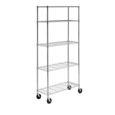 48 in. 5-Shelf Deco Wire with Casters