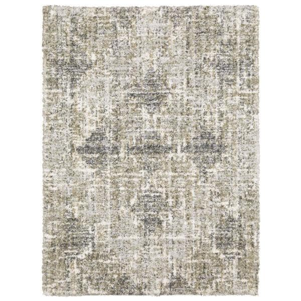 Home Decorators Collection Landon Gray Green 8 Ft X 10 Ft Abstract Shag Area Rug 564248 The Home Depot