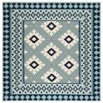 Veranda Ivory/Blue 3 ft. x 3 ft. Aztec Geometric Indoor/Outdoor Square Area Rug