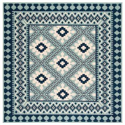 Veranda Ivory/Blue 8 ft. x 8 ft. Aztec Geometric Indoor/Outdoor Square Area Rug