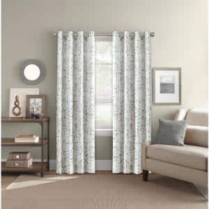 Neutral Leaf Polyester 52 in. W x 84 in. L Grommet Room Darkening Curtain Panel