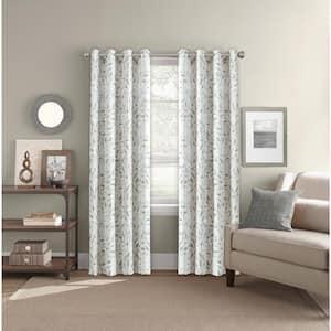 Neutral Leaf Grommet Room Darkening Curtain - 52 in. W x 84 in. L