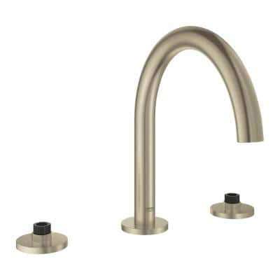 Grohe Atrio 2 Handle M Size Wall Mount Bathroom Faucet In Brushed Nickel 20173en3 The Home Depot