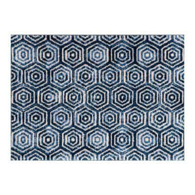In-Home Washable/Non-Slip Hex Blue 2 ft. 3 in. x 1 ft. 5 in. Area Rug & Mat