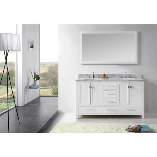 Virtu Usa Caroline Avenue 60 In W Bath Vanity In White With Marble Vanity Top In White With Square Basin And Mirror Gd 50060 Wmsq Wh The Home Depot