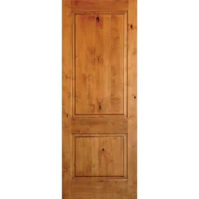 30 in. x 96 in. Rustic Knotty Alder 2-Panel Square Top Unfinished Wood Front Door Slab