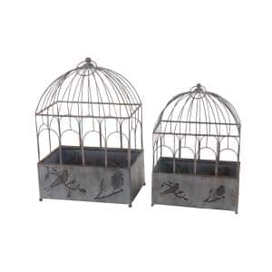 Rustic 21 in. and 25 in. Distressed Gray Iron Bird Cage Planters (Set of 2)