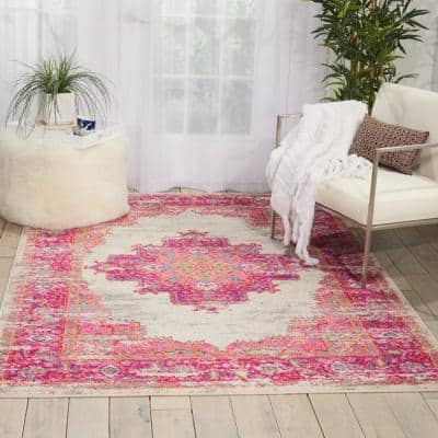 Passion Ivory/Fuchsia 5 ft. x 7 ft. Persian Vintage Area Rug