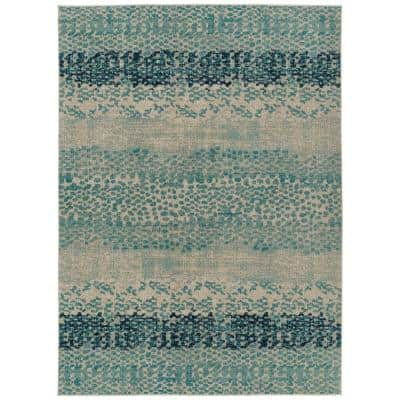 Zuma Beach Collection Blue 9 ft. 3 in. x 12 ft. Rectangle Indoor/Outdoor Area Rug