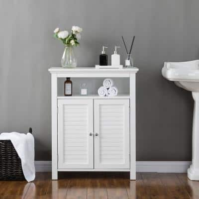 26 in. W x 12.5 in. D x 32 in. H Shelved Floor Cabinet with 2 Shutter-Door in White