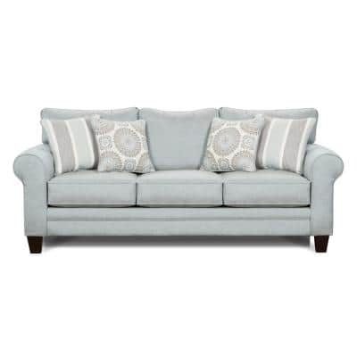 Daisy 88 in. Revolution Mist Fabric 3-Seater Lawson Sofa with Round Arms