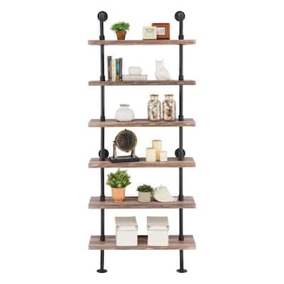 10 in. X 32 in. X 78 6 Tier Brown Distressed Wood Finish Decorative Wall Shelf