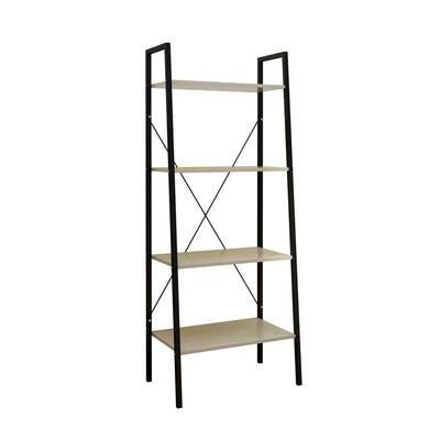 58.3 in. Black/Beige Metal 4-shelf Ladder Bookcase with Open Back