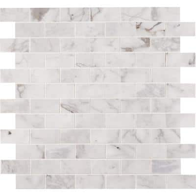 Calacatta Cressa 12 in. x 12 in. x 10 mm Honed Marble Mosaic Tile (9.8 sq. ft. / case)