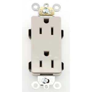 Decora Plus 15 Amp Commercial Grade Self Grounding Duplex Outlet, Gray