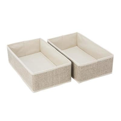 12.2 in. x 7.25 in. x 3.7 in. Rectangular Medium Faux Jute 2-Pack Compartment Drawer Organizer