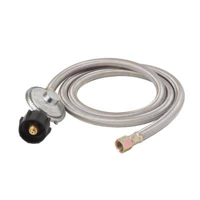 5 ft. QCC1 Stainless Steel Braided Propane Adapter Hose with Regulator